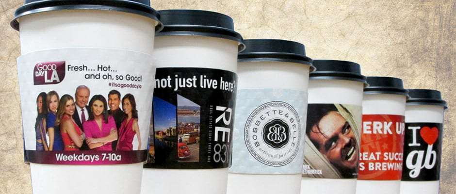Full color coffee sleeves printed with unlimited colors