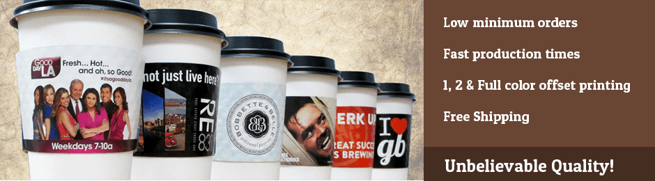 Print custom coffee sleeves in full color