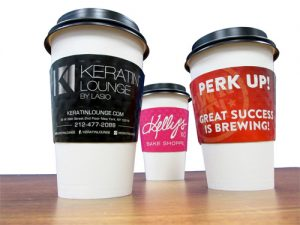Coffee cup sleeves printed in full color will get your cafe noticed.