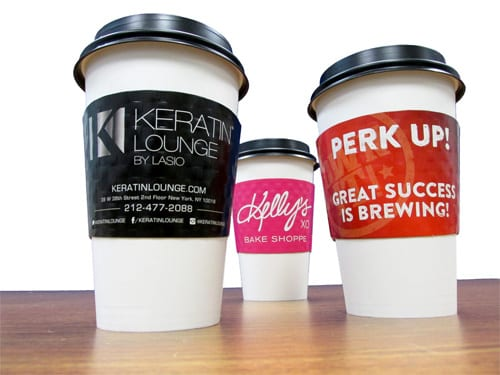 Coffee sleeves are a great way to promote your cafe.